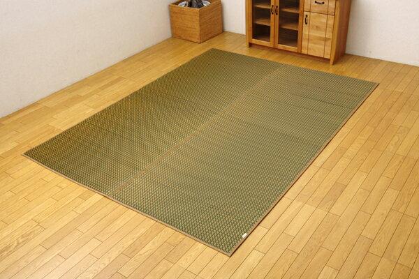 ラグ カーペット マット い草中敷ラグ 裏貼り クッション 1.8畳 モダン 日本製 い草 『Fリブロ』 グリーン 約140×200cm(代引不可)【送料無料】