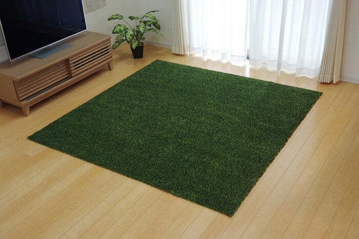 ラグ マット カーペット 3畳 洗える タフト風 『ノベル』 グリーン 140×340cm すべりにくい加工 ホットカーペット対応(代引不可)【送料無料】