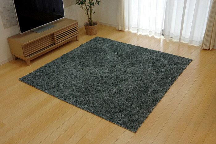 ラグ マット カーペット 3畳 洗える タフト風 『ノベル』 グレー 140×340cm すべりにくい加工 ホットカーペット対応(代引不可)【送料無料】