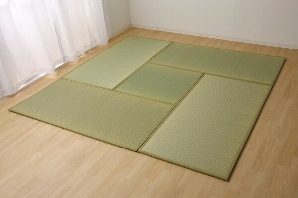 置き畳 国産 い草ラグ あぐら ダークグリーン 4.5畳セット 82×164×1.7cm4枚+82×82×1.7cm1枚(代引不可)【送料無料】