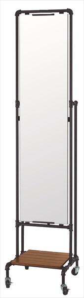 JET BLACK キャスターミラー スタンドミラー シルエット 鏡 姿見 棚付き スチールフレーム 木製棚(代引不可)【送料無料】