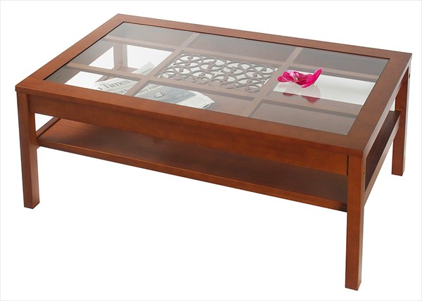 リビングテーブル OW-550 テーブル おしゃれ アンティーク風 ガラステーブル(代引不可)【送料無料】