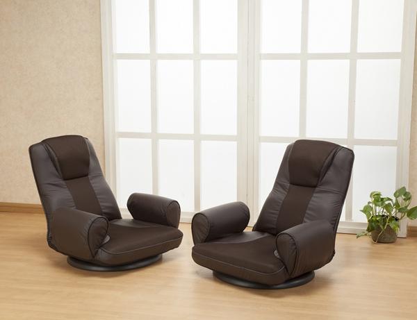 リクライニング 回転肘付座椅子 2脚組 リクライニングチェア チェア 椅子(代引不可)【送料無料】