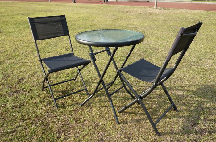 ガーデン 3点セット カラフル 折りたたみ式ガーデンチェア2脚&ガラステーブル カフェ風 テラス バルコニー(代引不可)【送料無料】