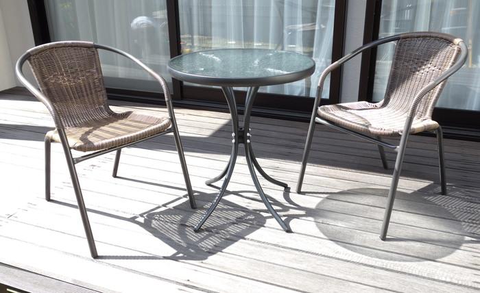送料無料 ラタン調 ガーデン 3点セット ガーデンチェア2脚ガラステーブル 代引不可 カフェ風 開店祝い バルコニー 新作多数 テラス