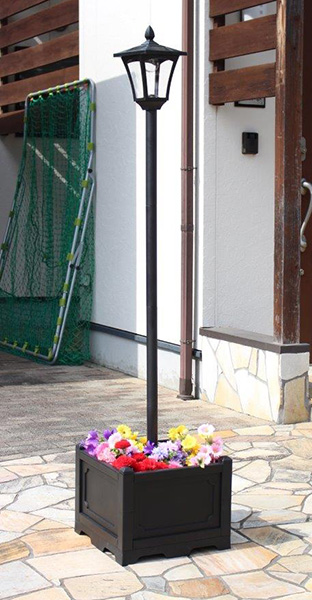 プランター付きソーラーライト 1灯 ソーラーライト プランター付き 屋外 外灯 街灯(代引不可)【送料無料】