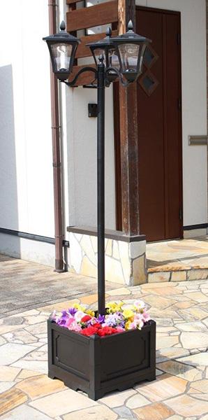 プランター付きソーラーライト 3灯 ソーラーライト プランター付き 屋外 外灯 街灯(代引不可)