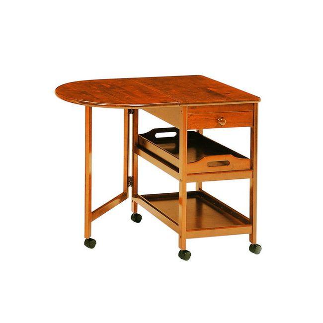 木製テーブル付ワゴン KW-415 収納 キッチン収納 キッチンワゴン キャスター付(代引不可)【送料無料】