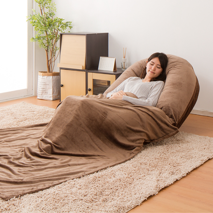 日本製 もちもち クッションソファ ブランケット付き OAAZ-1704 リクライニング クッション 毛布 イス 寝袋 ブランケット 座椅子 国産 ソファ(代引不可)【送料無料】
