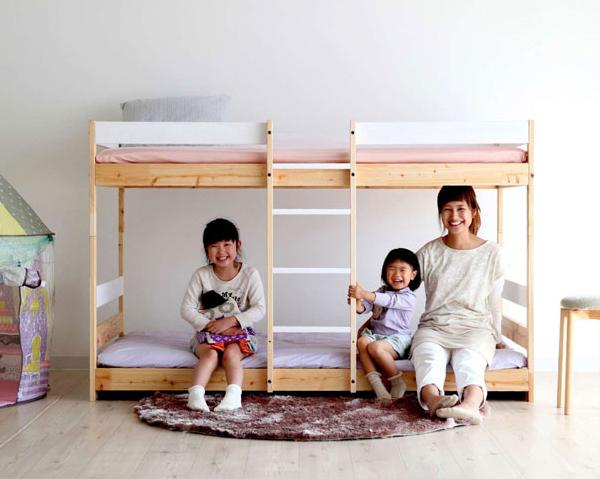 NH01 ひのきの2段ベッド(ホワイト×ナチュラル) 国産 Homecoming ひのき ヒノキ(代引き不可)【送料無料】