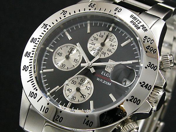 aa4f517cd8 楽天市場】エルジン ELGIN 腕時計 クロノグラフ メンズ FK1184S-B【S1 ...