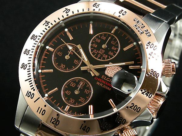 エルジン ELGIN 腕時計 クロノグラフ メンズ FK1184PG-B
