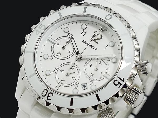 【メール便不可】 グランドール GRANDEUR セラミック クロノグラフ 腕時計 GCC002W1, SUPER ISM c88b566c