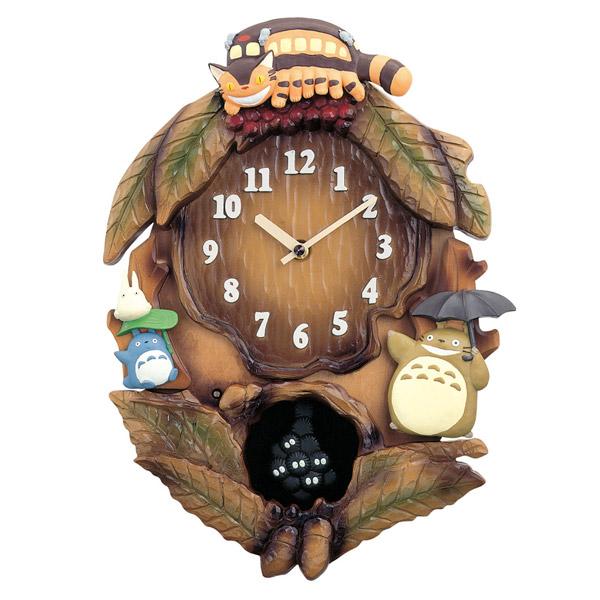 となりのトトロ 掛け時計 掛時計飾り振り子付き 4MJ837MN06 茶色ボカシ仕上