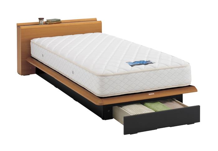 ASLEEP アスリープ ベッドフレーム セミダブルサイズ テーベ FY8222EC ナチュラル 引出し付き アイシン精機 ベッド(代引不可)【送料無料】【int_d11】