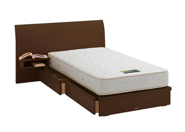 ASLEEP アスリープ ベッドフレーム シングルサイズ ロマノフ FS6HYEDC ミディアムブラウン 引出し付き・テーブル付 アイシン精機 ベッド(代引不可)【送料無料】