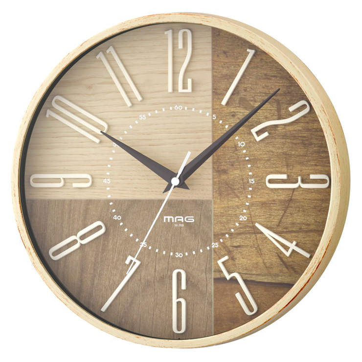 送料無料 ノア精密 MAG マグ 電波掛時計 ココア W-769IV-Z 引き出物 シンプル 掛け時計 時計 時間 29cm 卓越 電波時計 立体文字盤