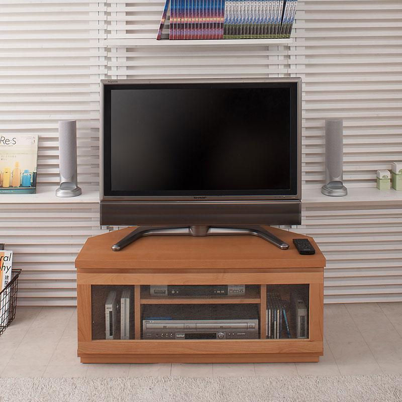 天然木アルダーコーナーTVボード 幅約90 ナチュラル色【送料無料】【tvboard0901】