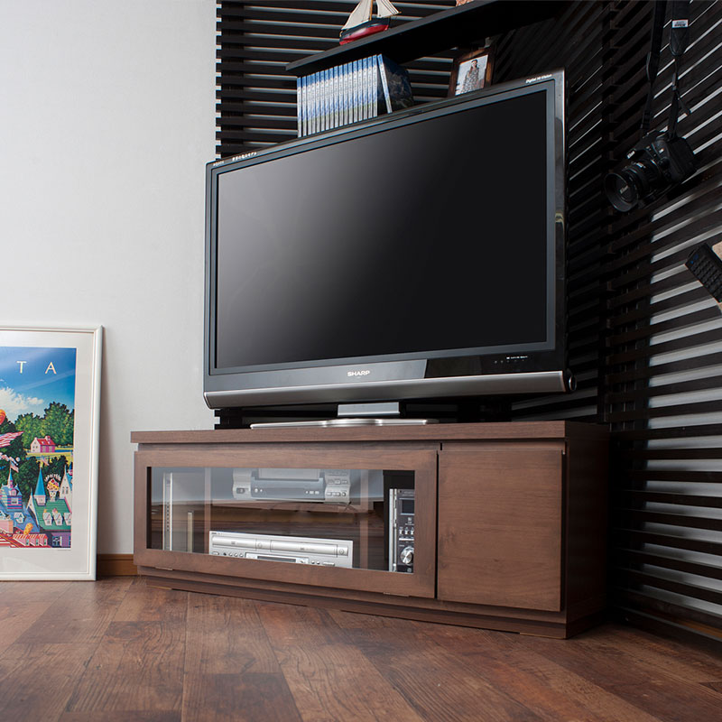 天然木アルダーコーナーTVボード 幅約116 ダークブラウン色【送料無料】【tvboard0901】