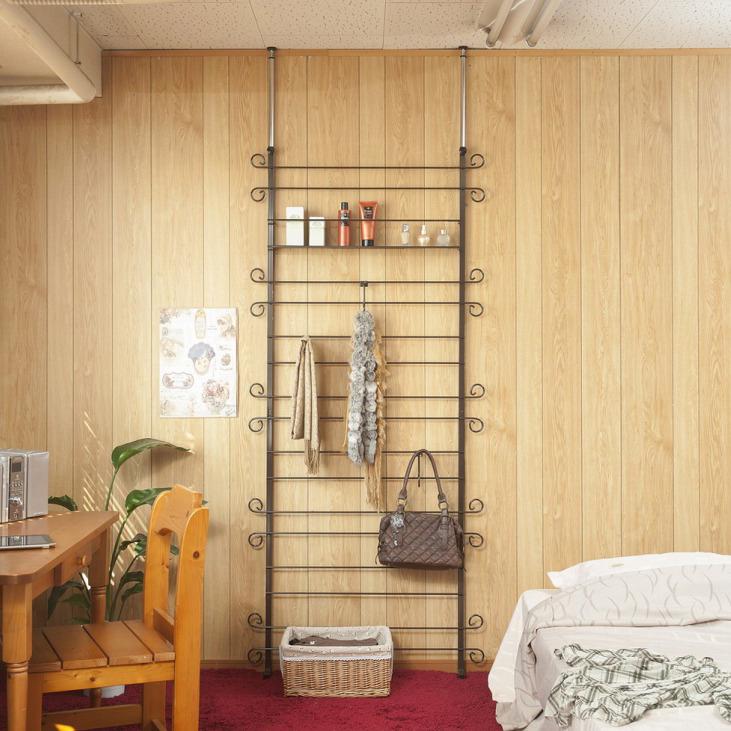 突っ張り壁面カーリーデザインラダーラック 幅90cm ブラウン色(代引不可)【送料無料】