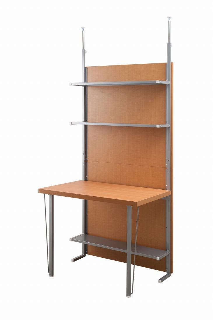 突っ張り間仕切りパーテーションデスク 幅90cm ナチュラル色 つっぱり 薄型 書斎 壁面収納 机 DIY ウォールディスプレイ 壁面ラック お洒落 オフィス【送料無料】