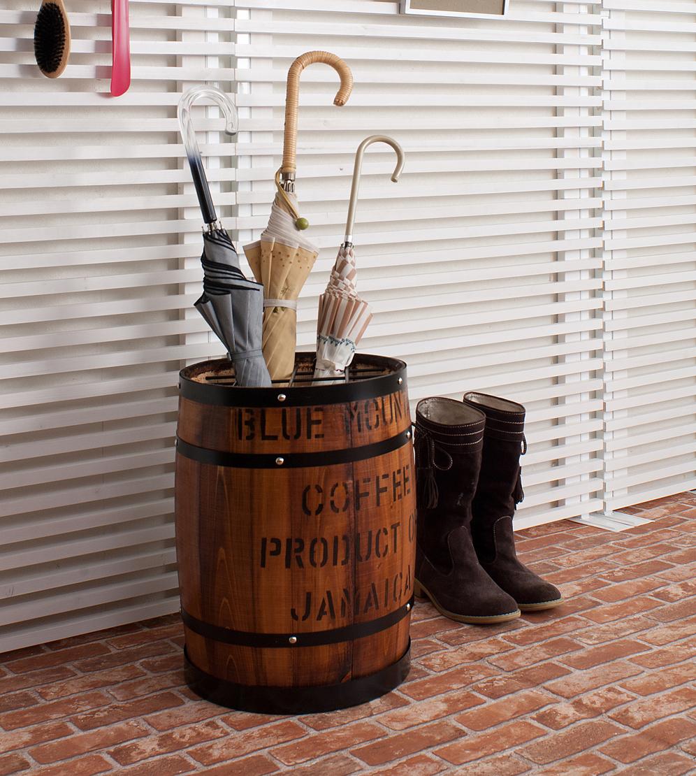国産木樽型 傘立て ブラウン 傘 収納 傘立 傘たて おしゃれ アンブレラ スタンド 玄関収納 たる タル 木樽 バレル 木製 ウッド(代引不可)【送料無料】