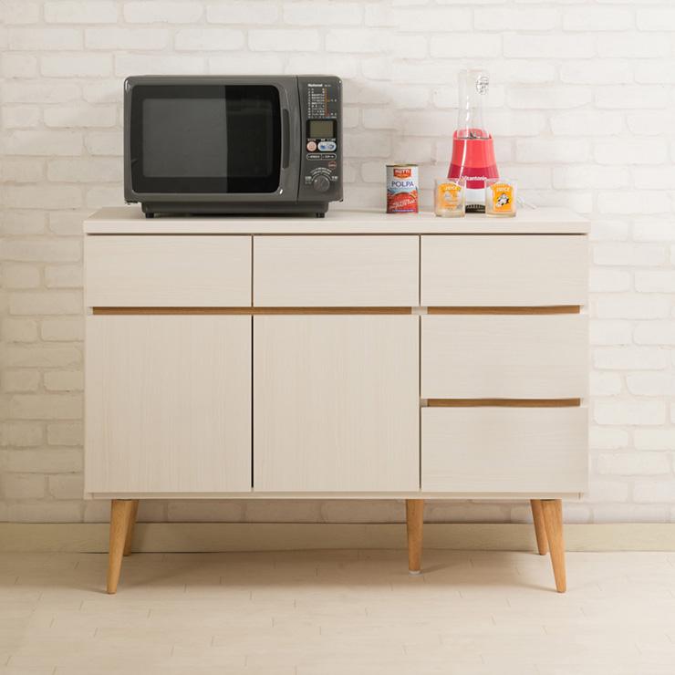 日本製 キッチンカウンター 幅110cm ホワイトウォッシュ 収納型タイプ 完成品 組み立て不要 レンジ台 レンジラック 食器棚(代引不可)【送料無料】