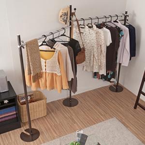 新室内物干し兼用ハンガー ポールハンガー可変式 ブラウン色 ポールハンガー ハンガーラック 衣類収納 服吊 ワードローブ(代引不可)【送料無料】