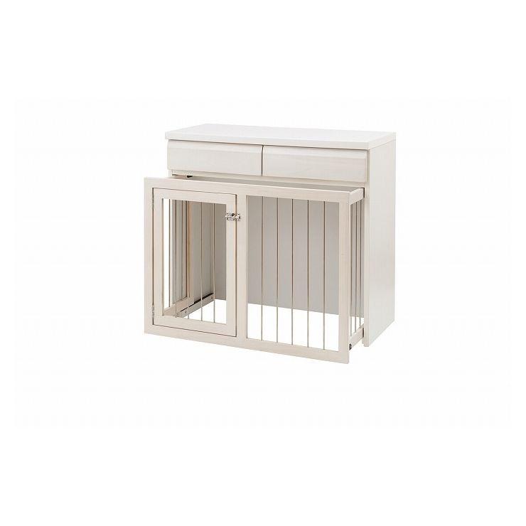 日本製 天然木 幅90 スライド式 ペットケージ ケージ ホワイトウォッシュ 白 国産 ペット 犬 猫(代引不可)【送料無料】