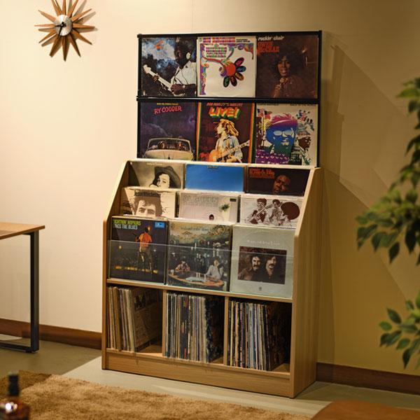 【送料無料】お気に入りのレコードジャケットをディスプレイしながら収納 総収納量は約420枚 レコードディスプレイラック 木目ナチュラル(代引不可)【送料無料】