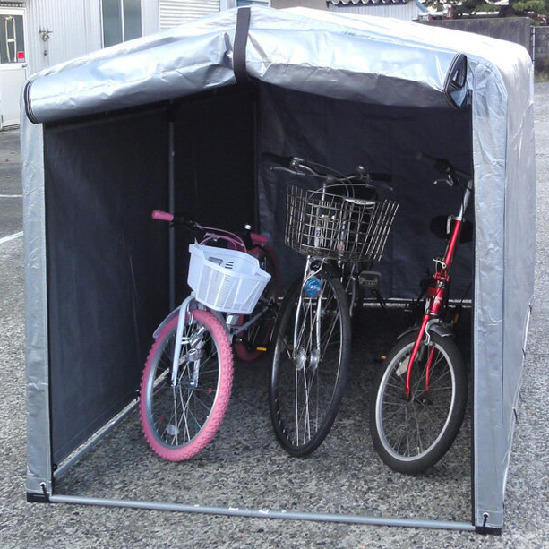 ビーカム スチールフレーム サイクルハウス 3S型 3台用 バイク 自転車 駐輪場 屋根付き マジックテープ付き 簡単(代引不可)【送料無料】