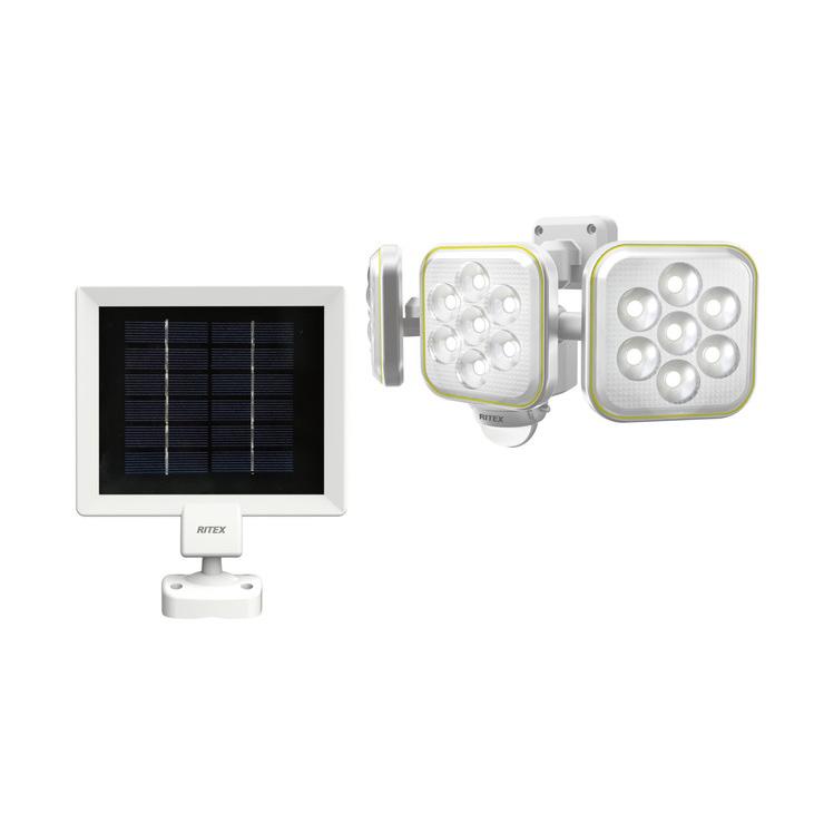 RITEX ライテック ムサシ 5W×3灯 フリーアーム式 LED ソーラー センサーライト 防犯ライト LEDライト 人感センサーライト 屋外(代引不可)【送料無料】