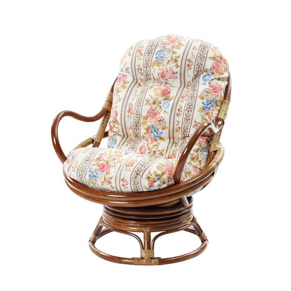 ラタン リラックス 回転チェア 籐家具 籐椅子 籐 回転椅子 イス 椅子 チェア 座椅子 一人掛け 1人掛け クッション(代引不可)【送料無料】【chair0901】