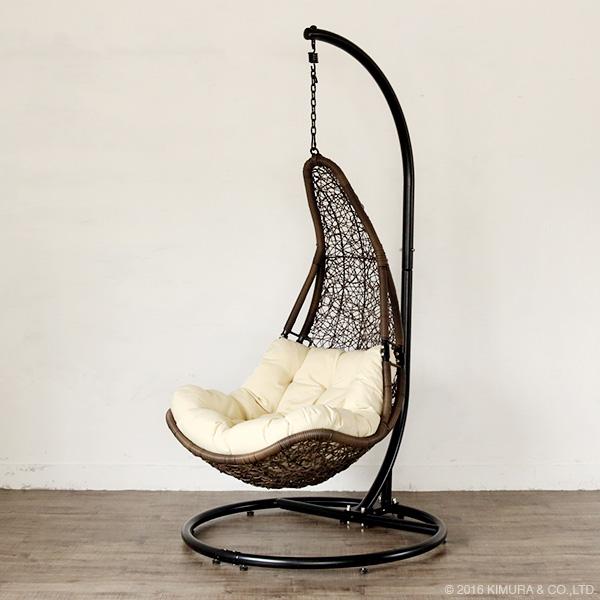 ハンギングチェア ティアー 生地:W(ホワイト) ハンモックチェア ソファー 椅子 イス パーソナルチェア 一人掛け 撥水 クッション(代引不可)【送料無料】【chair0901】
