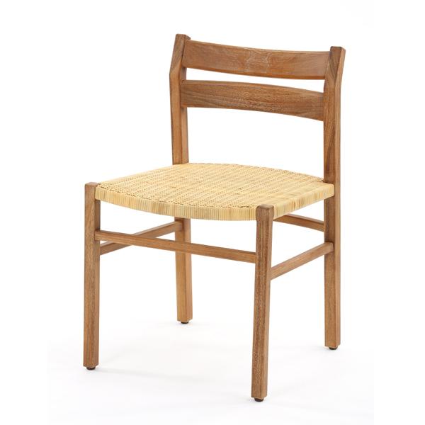 チーク無垢材とラタンのダイニングチェア ダイニングチェア 椅子 イス いす チーク 無垢材 ラタン 木製 籐 ダイニング(代引不可)【送料無料】
