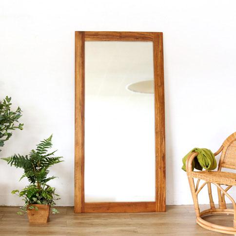 家具 インテリア ウォールミラー スタンドミラー 姿見 全身鏡 チーク 無垢 木製 リビング 玄関 寝室 アンティーク(代引不可)【送料無料】