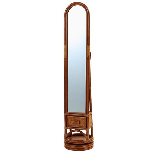 360度回転式玄関ミラー 籐家具 鏡 スタンドミラー 姿見 全身 スリッパラック 籐 ラタン 玄関 収納 洋風 スリム 省スペース(代引不可)【送料無料】