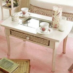 フィオーレ テーブル (ホワイトウォッシュ) 籐家具 テーブル センターテーブル コーヒーテーブル ローテーブル 座卓 ガラス(代引不可)【送料無料】