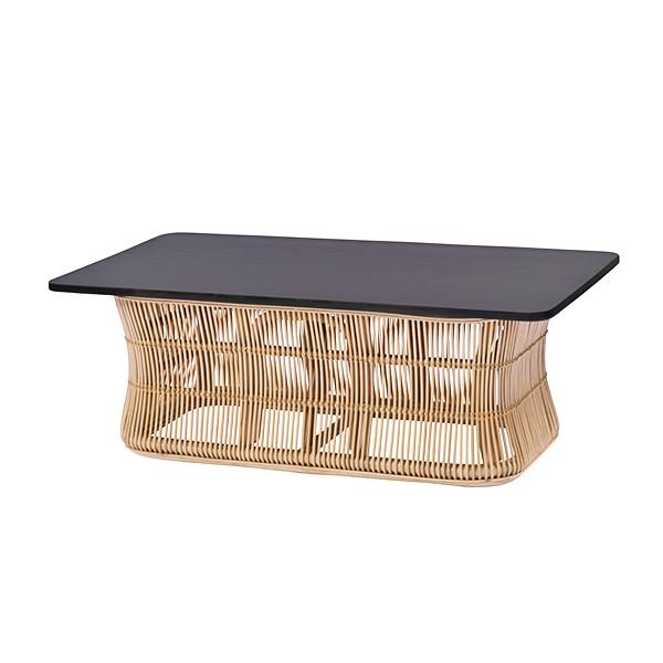 リビングテーブル 110cm幅 センターテーブル ガラステーブル ラタン 天板木製 ナチュラル(代引不可)【送料無料】