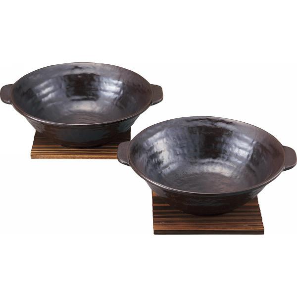 萬古焼 ペアラーメン鉢(茶)敷板付 和陶器 和陶丼 2客丼 12‐889(代引不可)