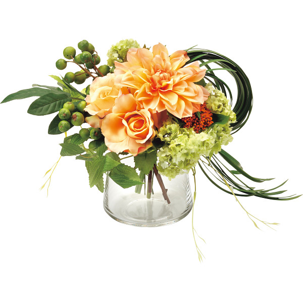 PRIMA ガラスベ-スアレンジ(造花) オレンジ 室内装飾品 花 グリ-ン ア-トアレンジ花 PRSY-0097(代引不可)【送料無料】
