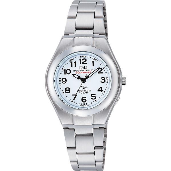 Q Q キューアンドキュー ソーラー電源機能搭載 レディース電波腕時計 ホワイト 装身具 婦人装身品 婦人腕時計 HJ01‐204(代引不可)【送料無料】