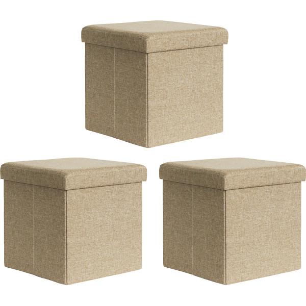 折りたたみ収納ボックス(3個組) ベージュ 台所 日用品 収納 収納用品 ハンガー その他収納用品 GF-FB3-BG(代引不可)【送料無料】