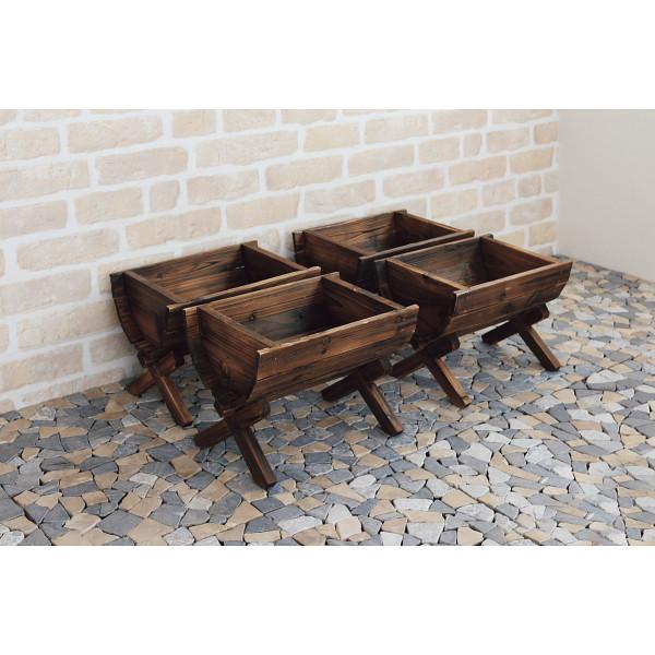 木製プランター 4個組(ピック付) 台所 日用品 収納 DIY用品 園芸用品 TPG703(代引不可)【送料無料】