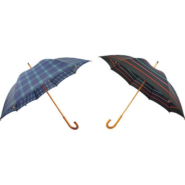 日本の職人手作り 木棒手開き長傘2本セット 日本の職人手作り 雨具 長傘 婦人長傘 HM220C(代引不可)【送料無料】