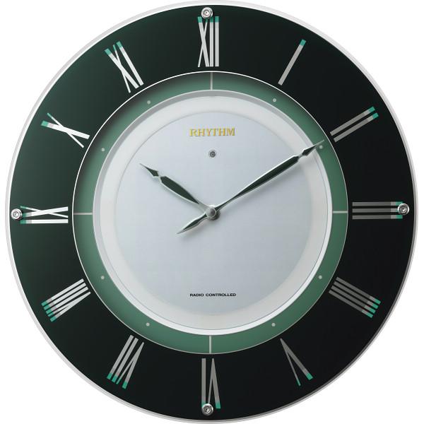 リズム ソーラーパワーアシスト電波掛時計 グリーン 室内装飾品 掛け時計 振り子無し丸型時計 4MY842HG05(代引不可)【送料無料】