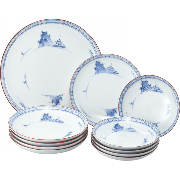 京山水絵 和合揃 和陶器 和陶皿 大中小皿組合せセット(代引不可)【送料無料】