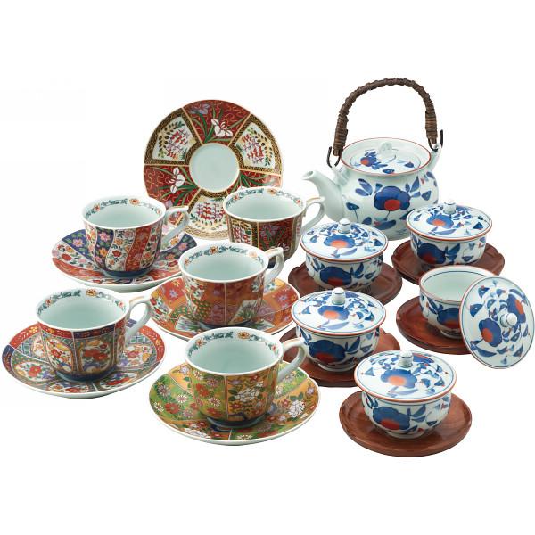 染錦珈琲 番茶器揃 和陶器 和陶茶器 土瓶茶器 雑貨セット 002-033M(代引不可)【送料無料】
