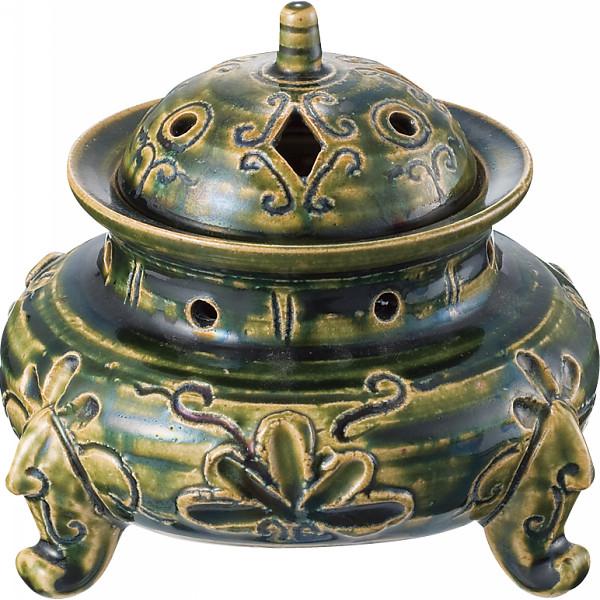水野健二 織部香炉 室内装飾品 置物 和陶置物 I‐61(代引不可)【送料無料】