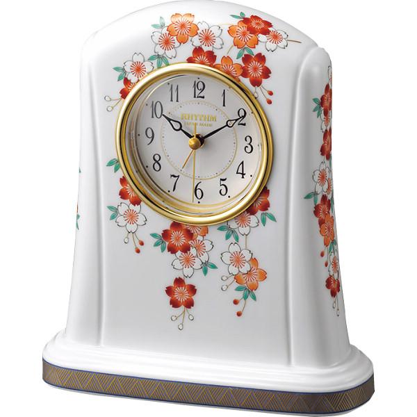 リズム香蘭社×リズム 有田焼置時計 レッド 室内装飾品 置き時計 目覚し重視時計 4SE415HG01(代引不可)【送料無料】